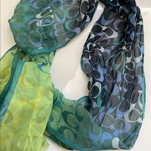 Coach 100% silk scarf ombré blue green head wrap